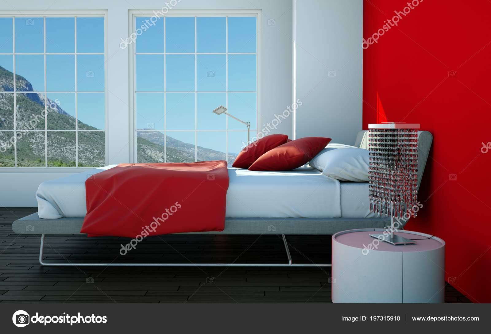 camera da letto moderna con la parete rossa e arredamento moderno ...