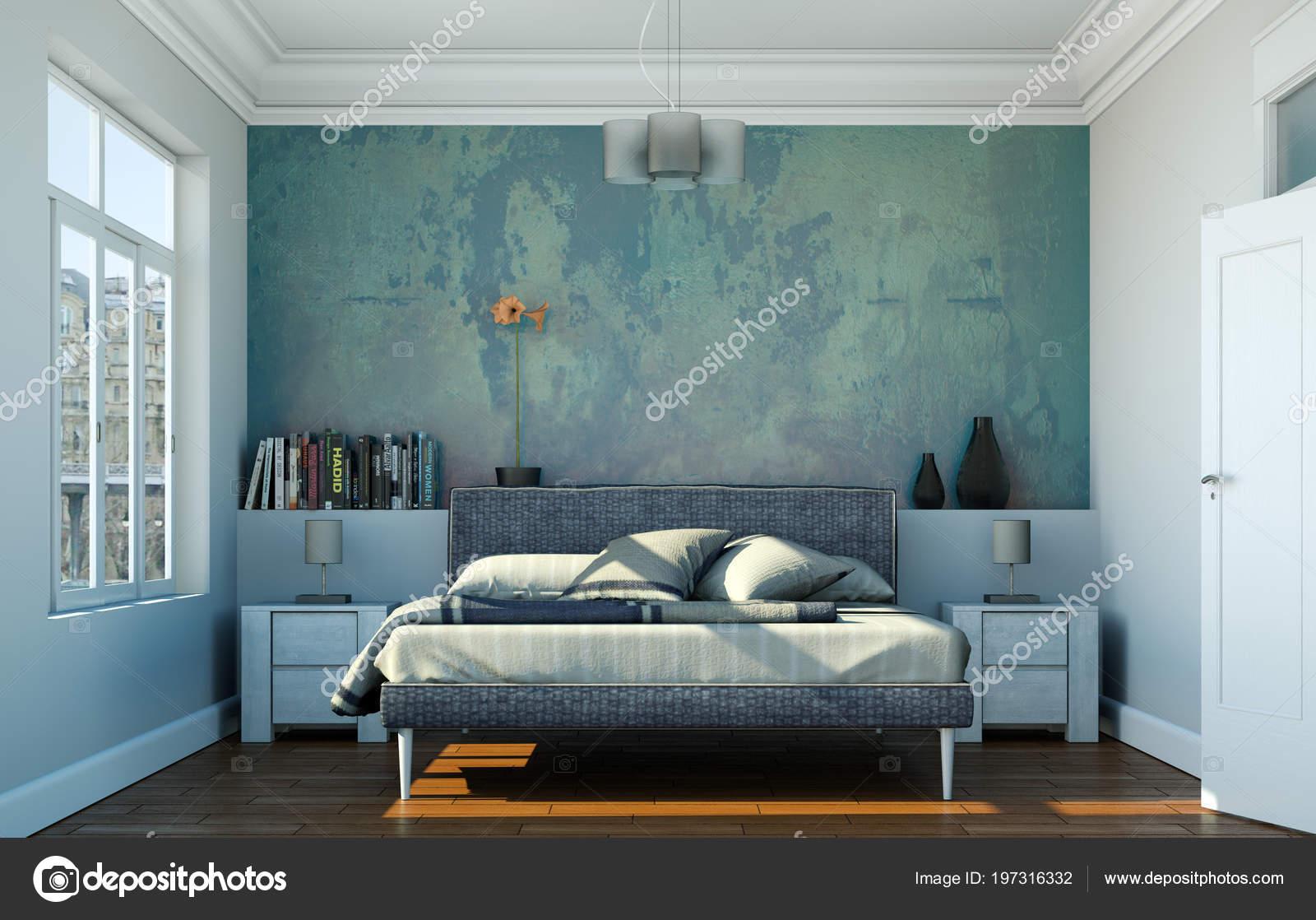 camera da letto moderna con letto king-size e arredi moderni — Foto ...