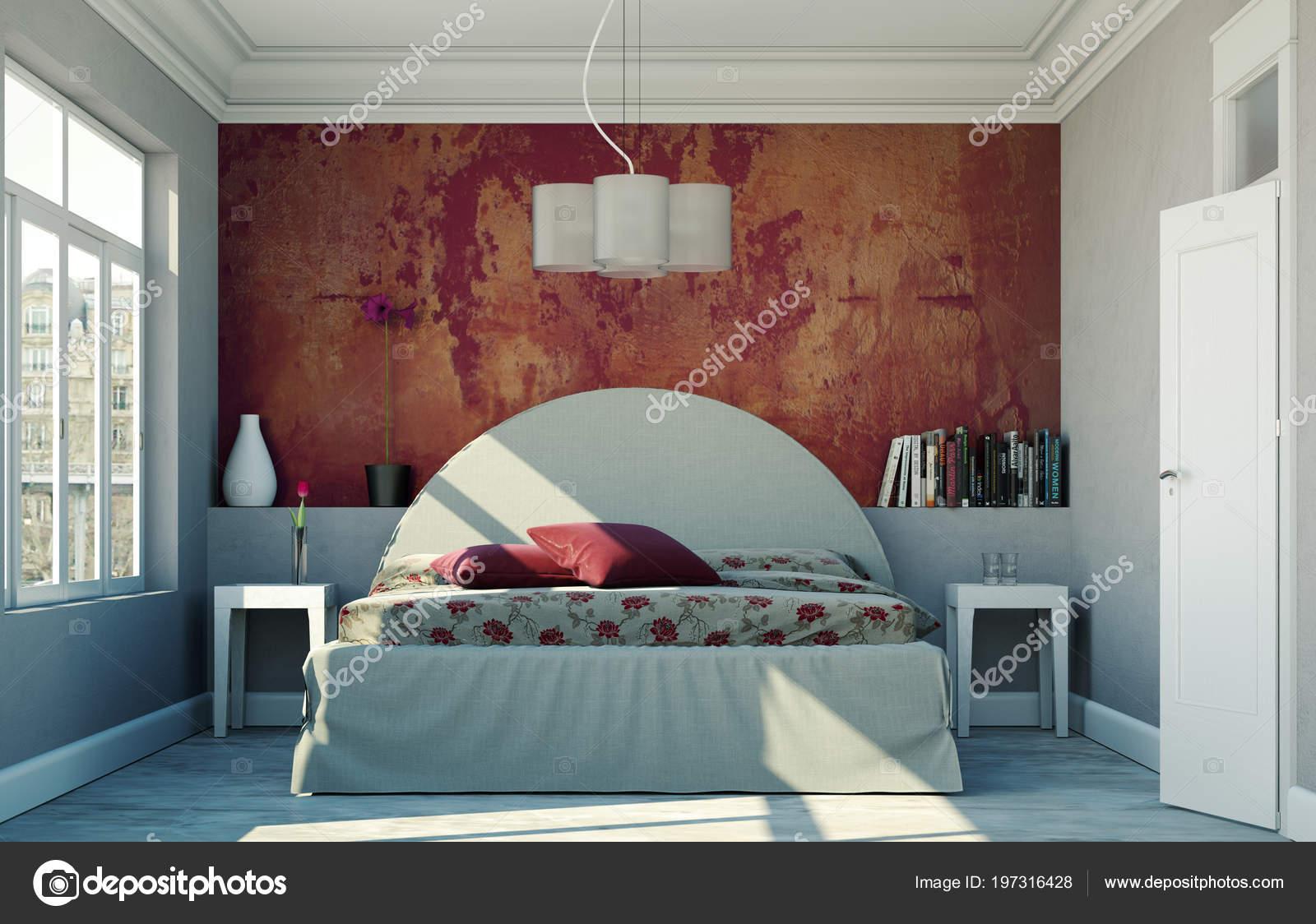Camera da letto moderna con la parete rossa e arredamento ...