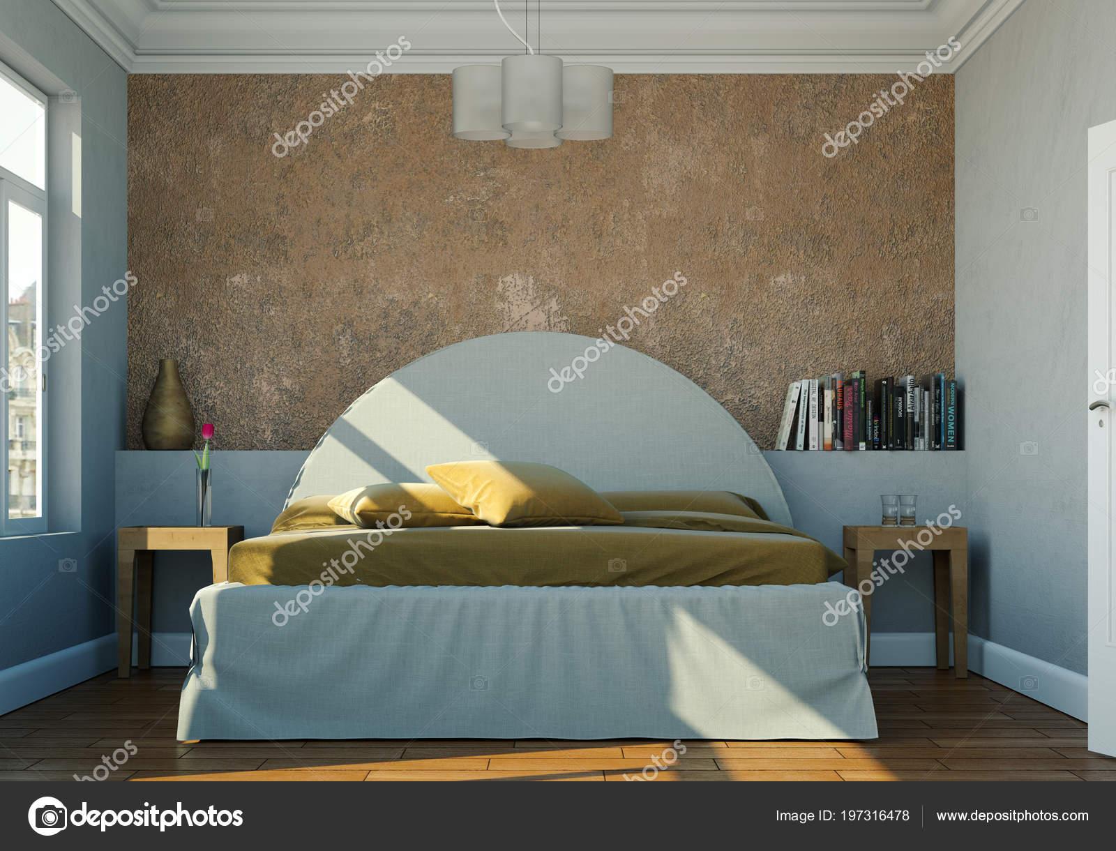 Arredamento Camera Da Letto Marrone : Camera da letto moderna con la parete marrone e arredamento