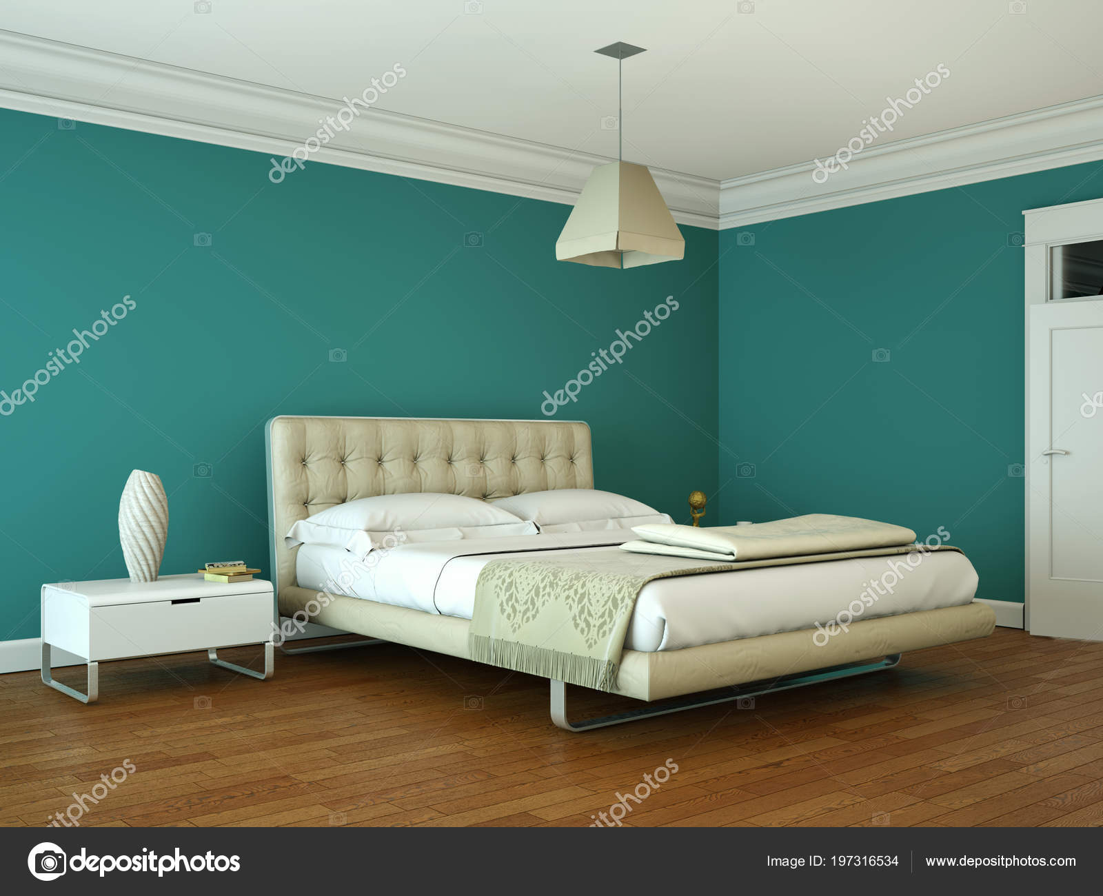 Moderne Schlafzimmer mit blauen Wand und modernem Dekor — Stockfoto ...