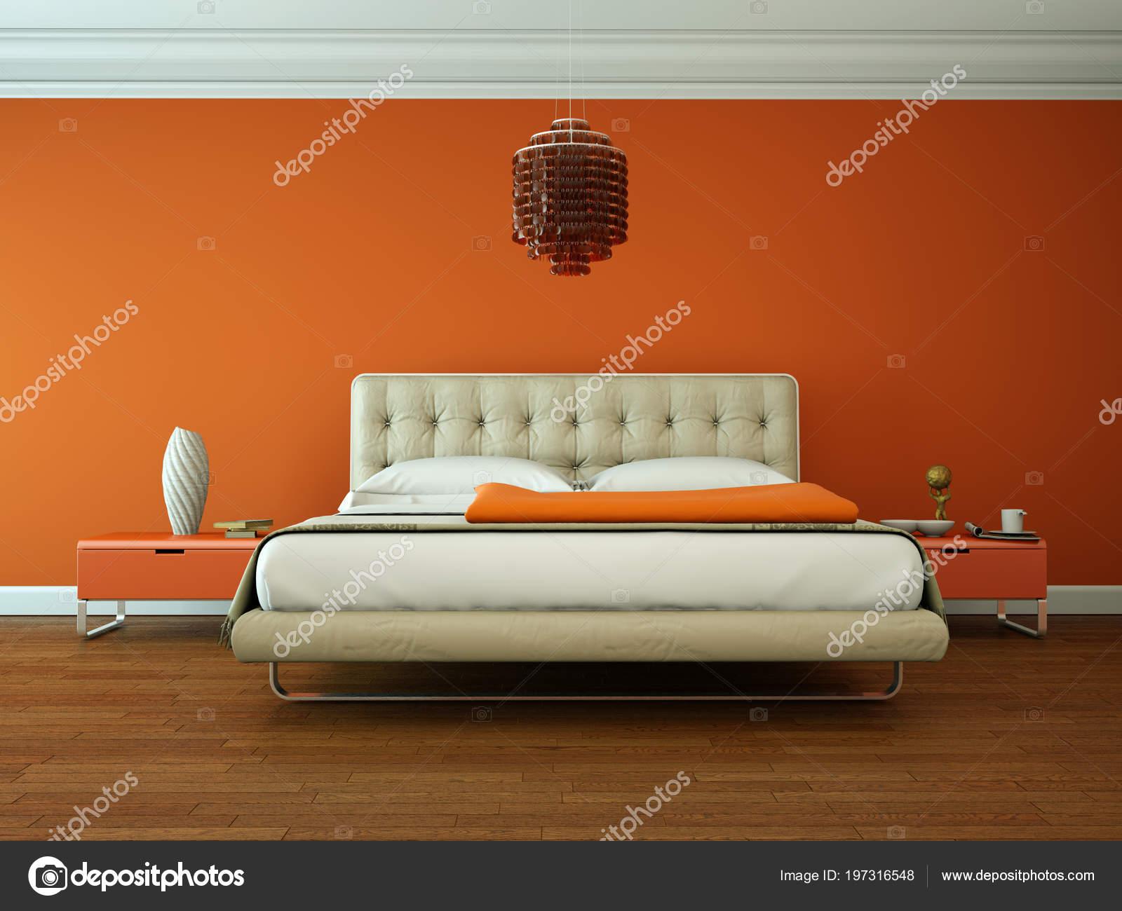 Camera da letto moderna con arredamento moderno e parete ...