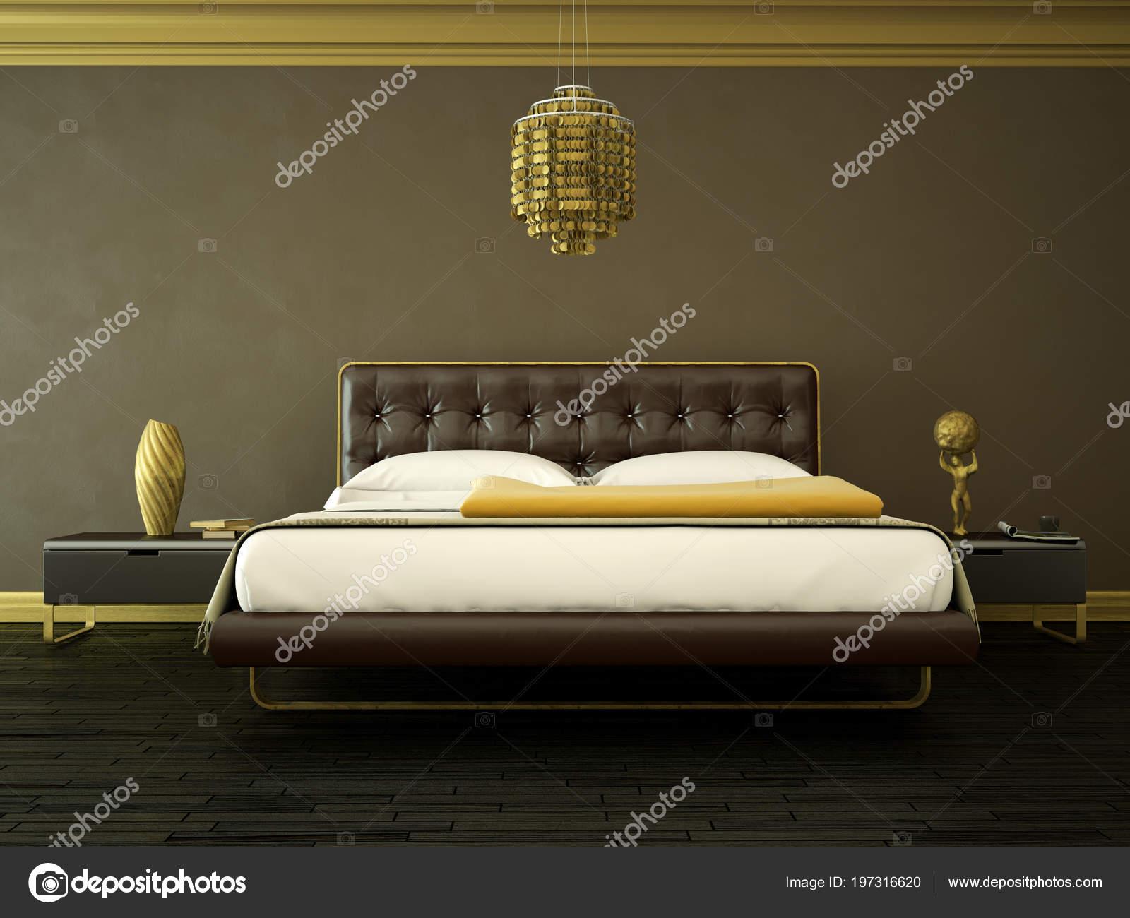 Arredamento Camera Da Letto Marrone : Camera da letto moderna con la parete marrone e arredamento moderno