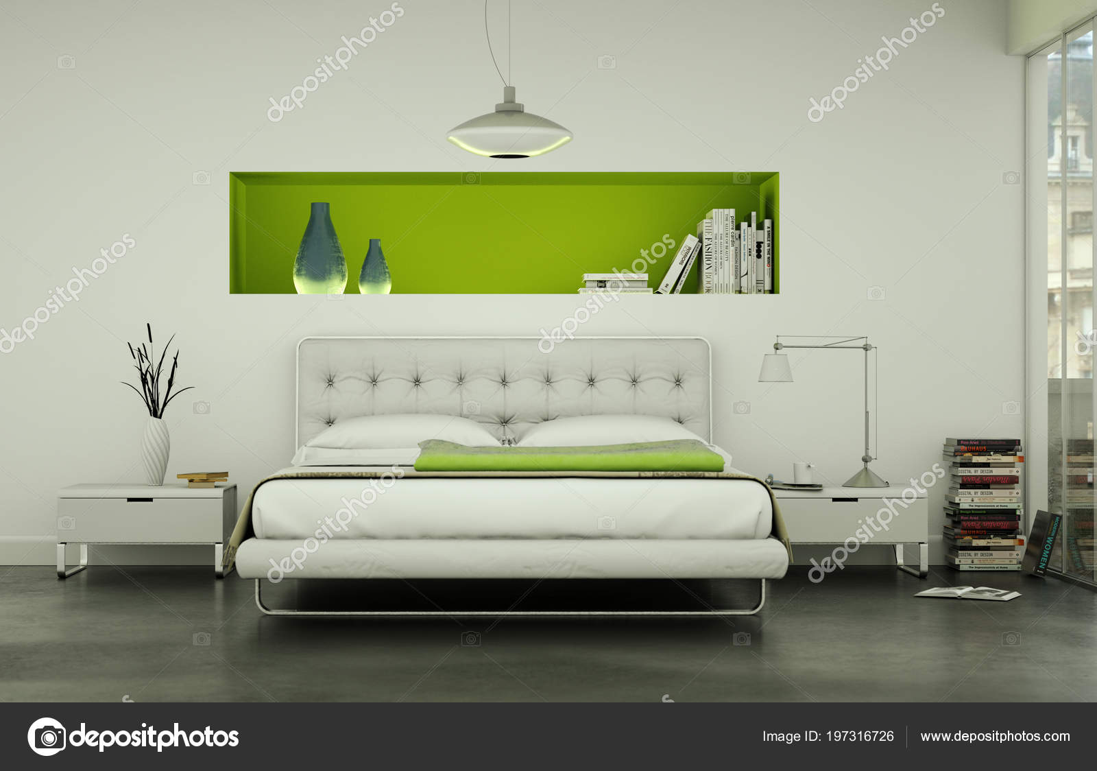 Camera da letto moderna con letto king-size e arredi moderni ...