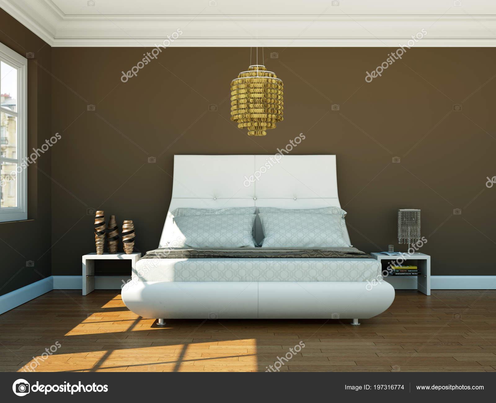Camera Da Letto Moderna Marrone : Camera da letto moderna con la parete marrone e arredamento