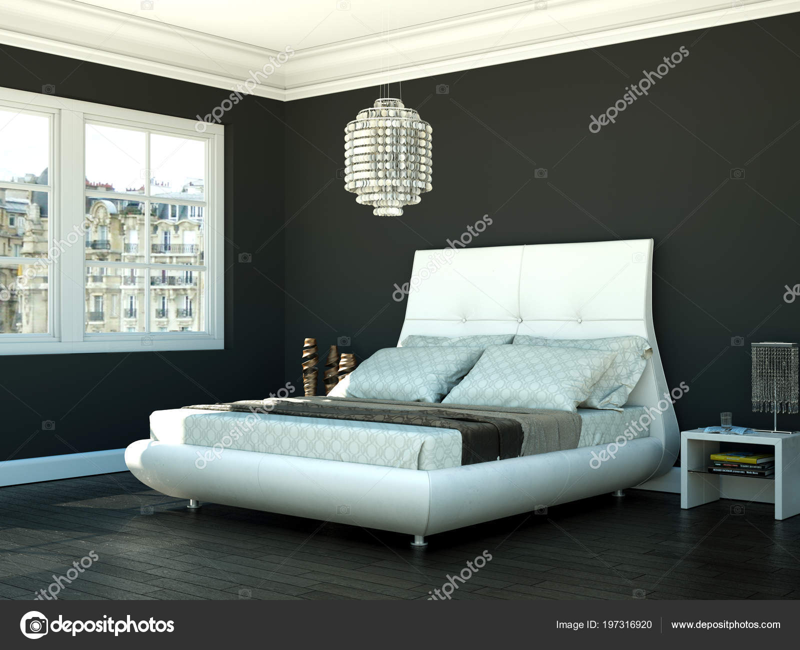 Slaapkamer Inrichten Grijs : Moderne slaapkamer met grijs muur en moderne inrichting