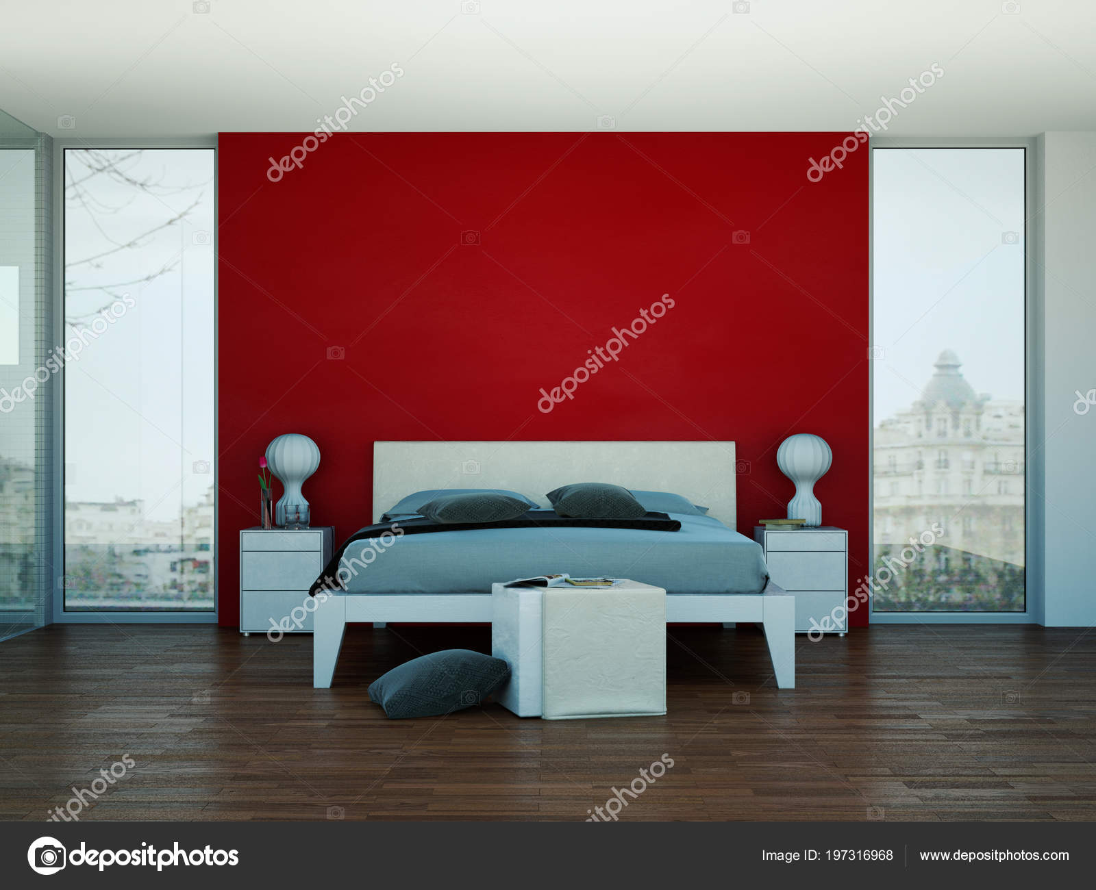Pareti Camera Da Letto Rossa : Camera da letto moderna con la parete rossa e arredamento moderno