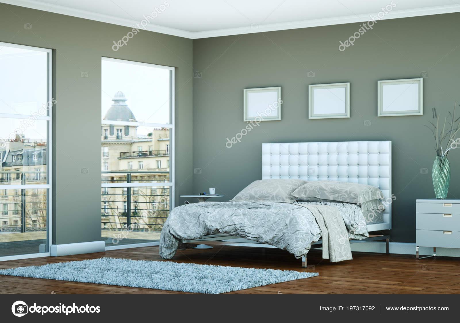 Camera da letto moderna con la parete grigia e arredamento ...
