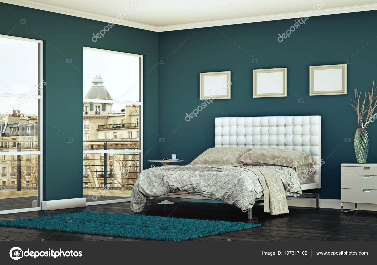 Camera da letto moderna con arredamento moderno e parete blu ...