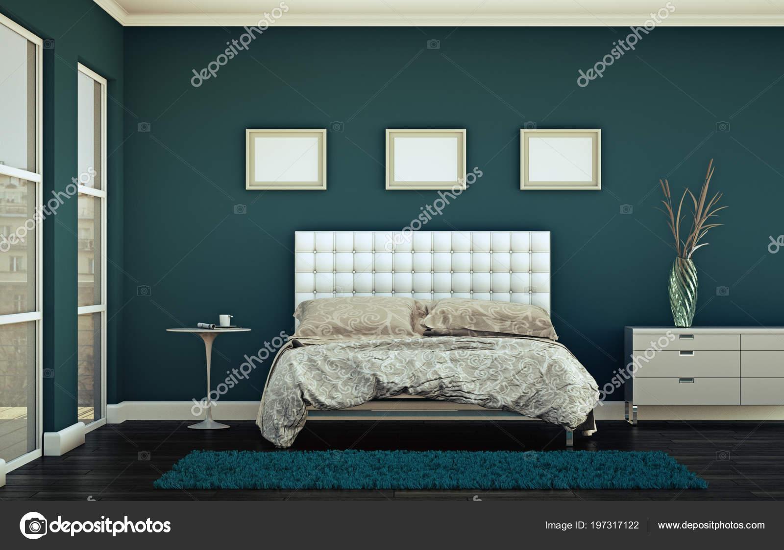 camera da letto moderna con arredamento moderno e parete blu — Foto ...