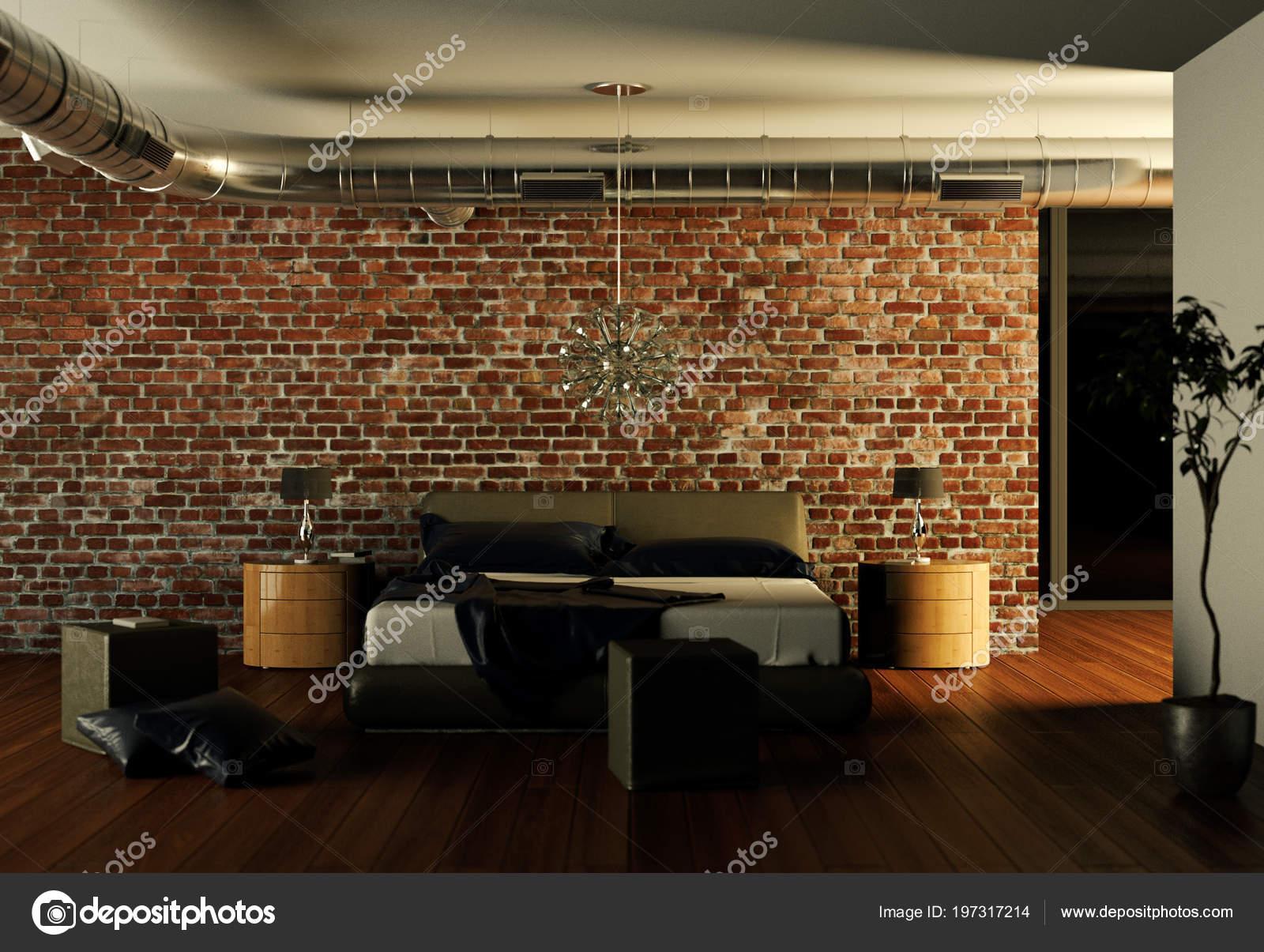 Chambre Moderne Avec Mur En Pierre Et Un Decor Moderne