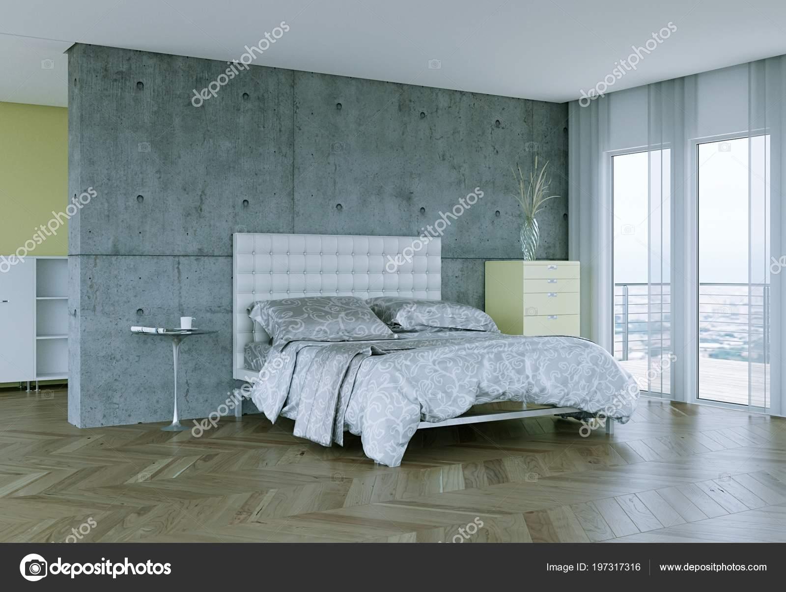 Camera da letto moderna con arredamento moderno e muro di ...