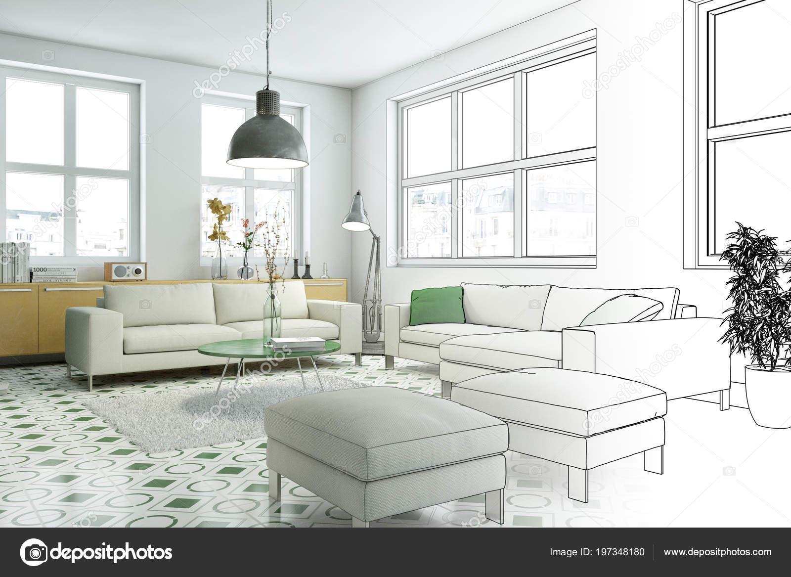 Interior Design Living Room Drawing Gradation Into