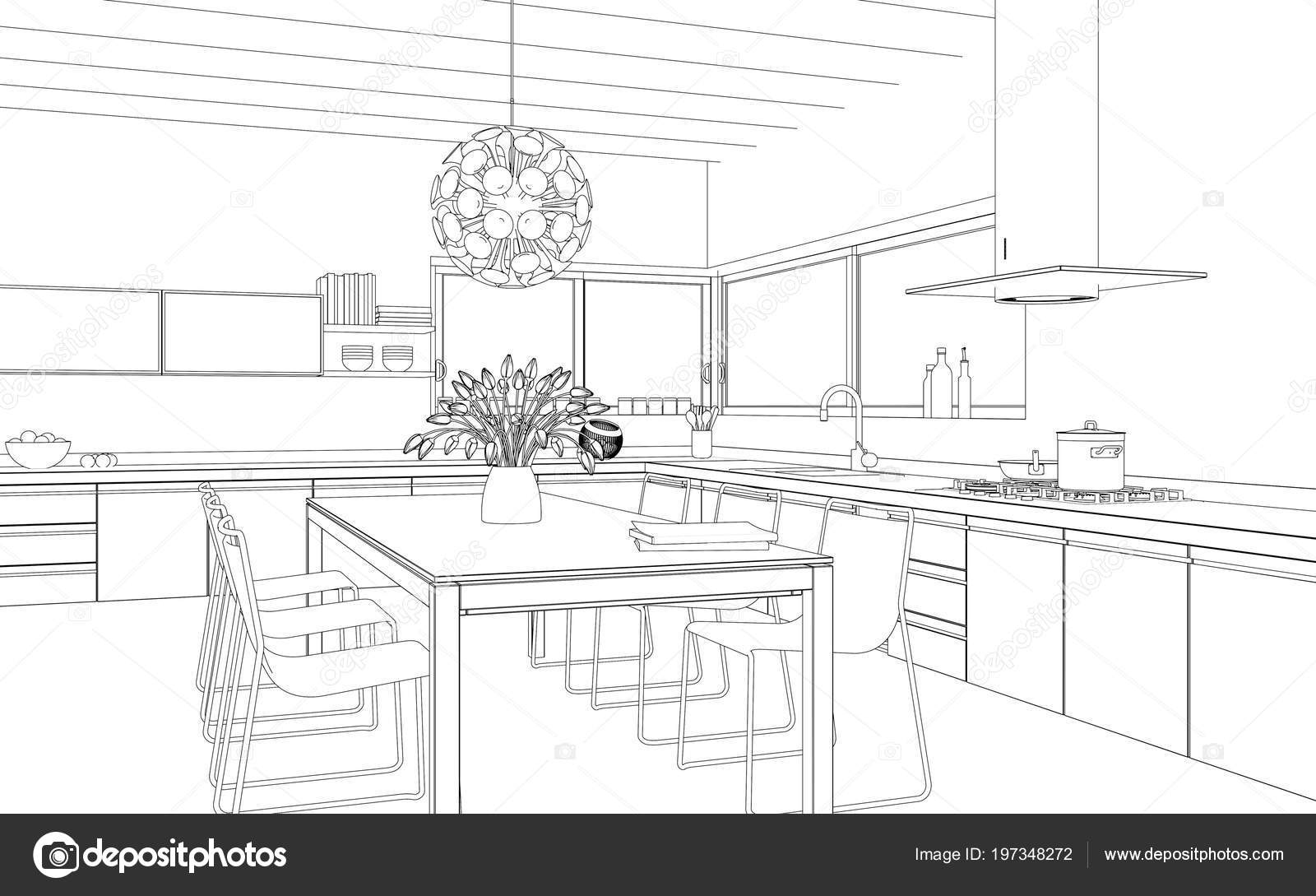 Interior Design modern Kitchen Drawing Plan Stock Photo by ...