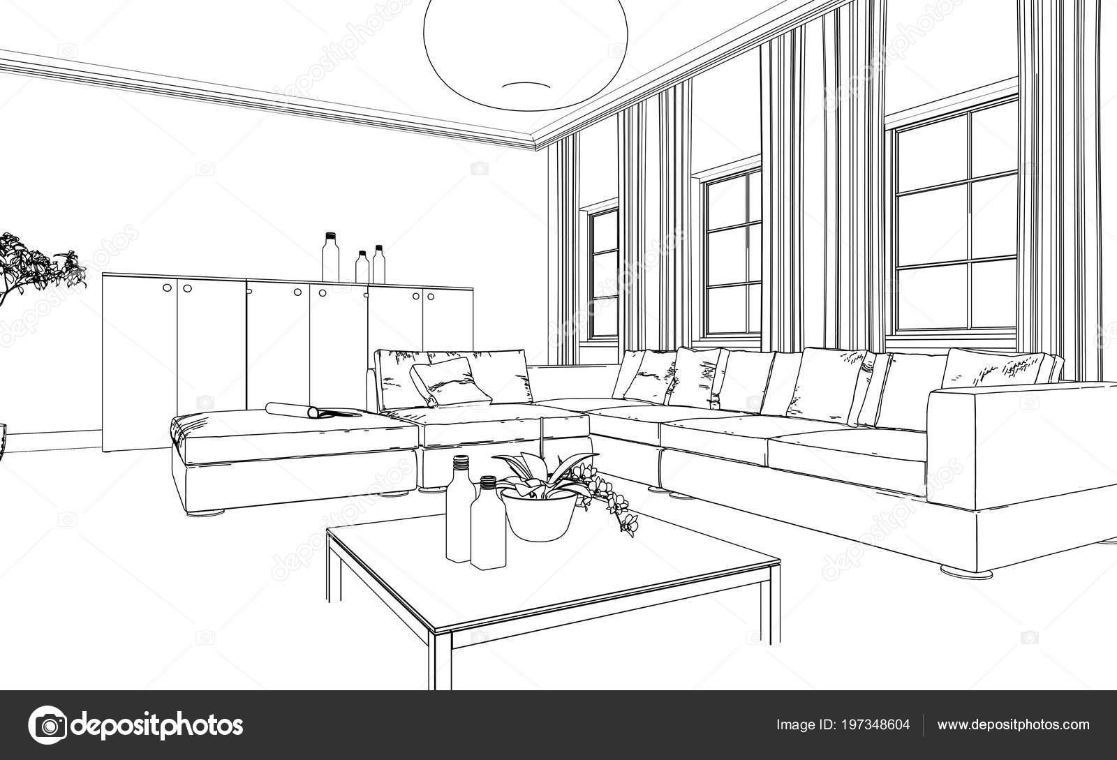 interior design living room custom drawing 197348604