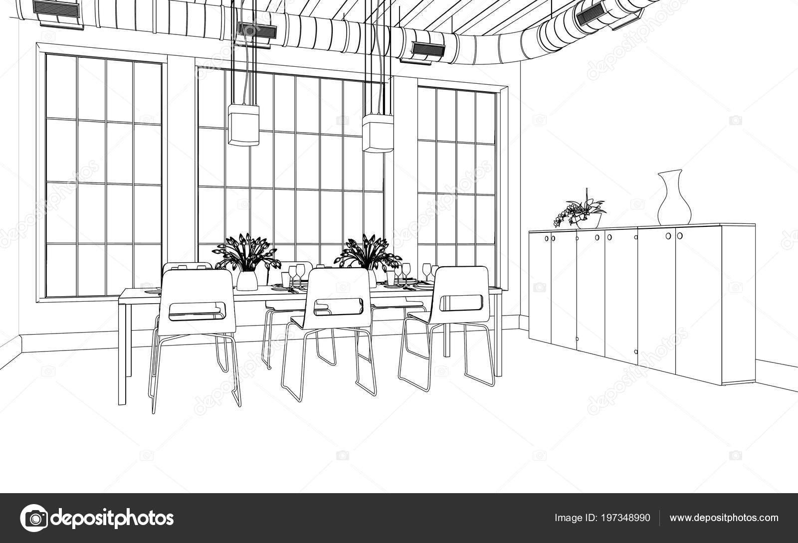 Interior Design Dining Room Custom Drawing Stock Photo C Virtua73