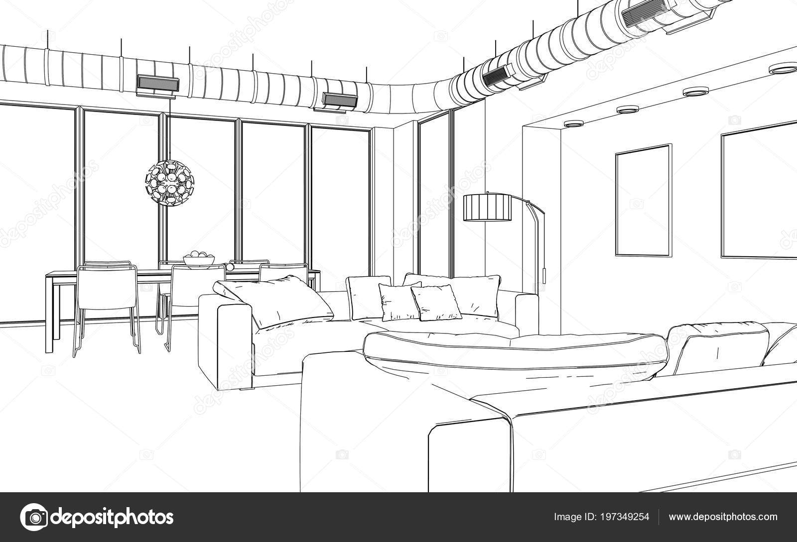 Interior Design Living Room custom Drawing — Stock Photo