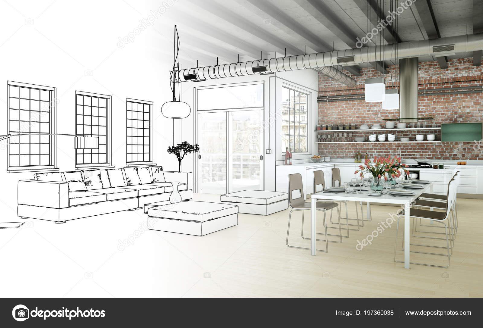 Interieur Design Woonkamer : Interieur design woonkamer tekening gradatie in foto u stockfoto
