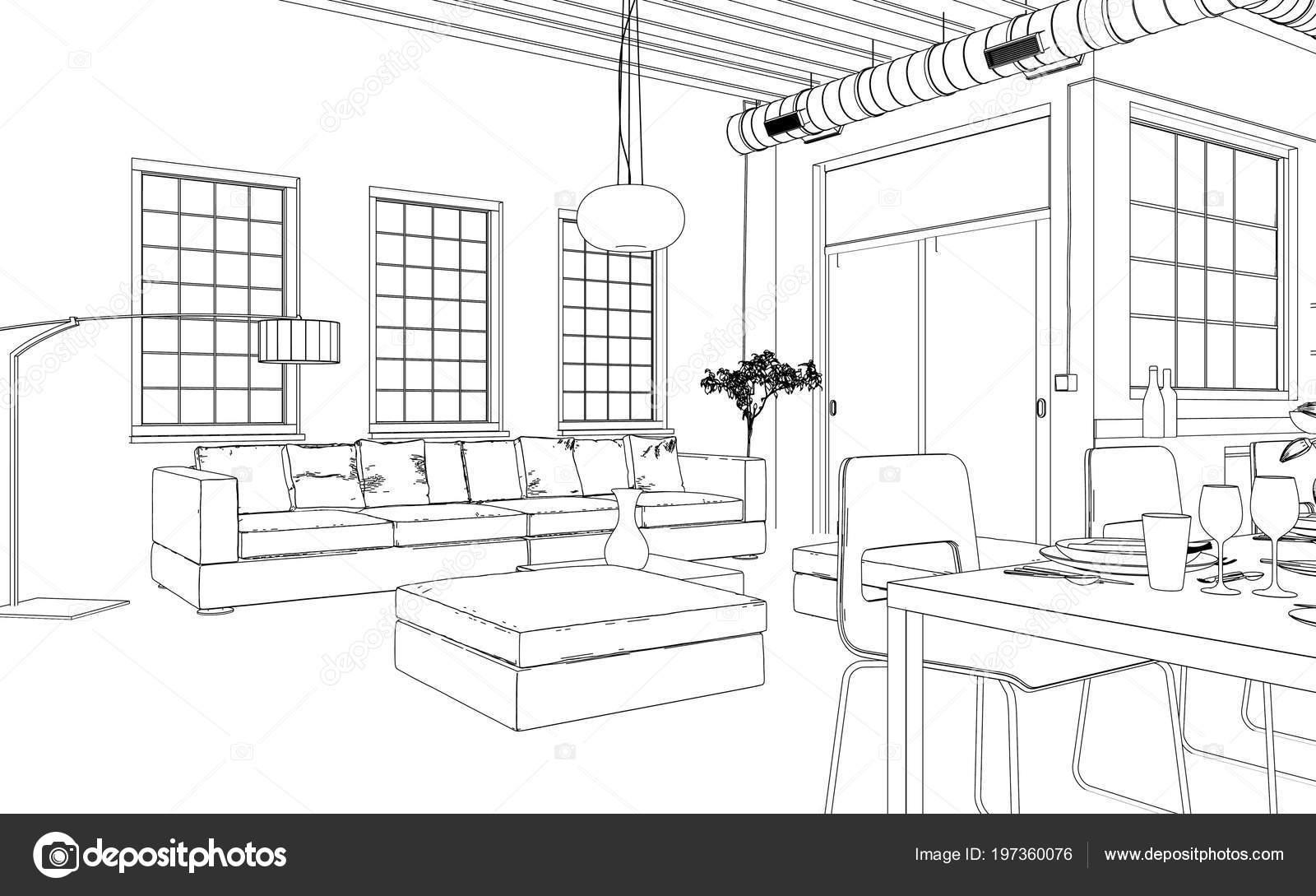 Interieurdesign woonkamer aangepaste tekening — Stockfoto © virtua73 ...