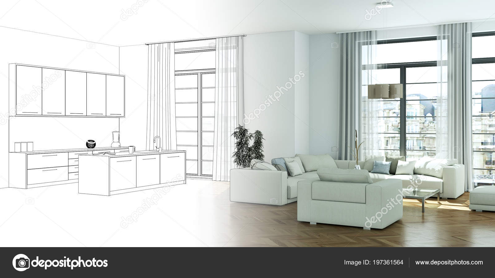 Interior Design Living Room Drawing Gradation Into Photograph Stock Photo