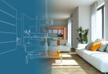 Interior Design Living Room Drawing Gradation Into Photograph