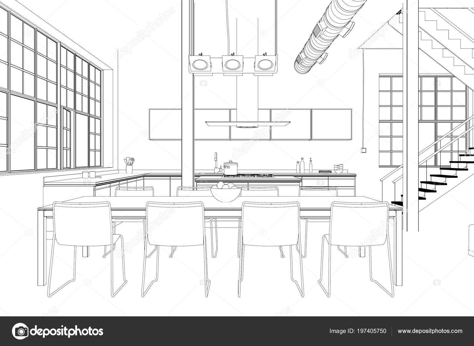 Interior Design Moderne Loft Kuche Benutzerdefinierte Zeichnung