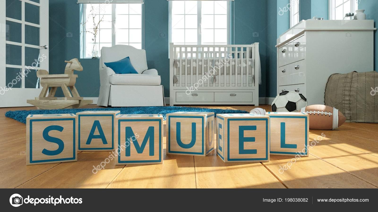 498b36229346 El nombre samuel escrito con cubos de juguete de madera en la ...