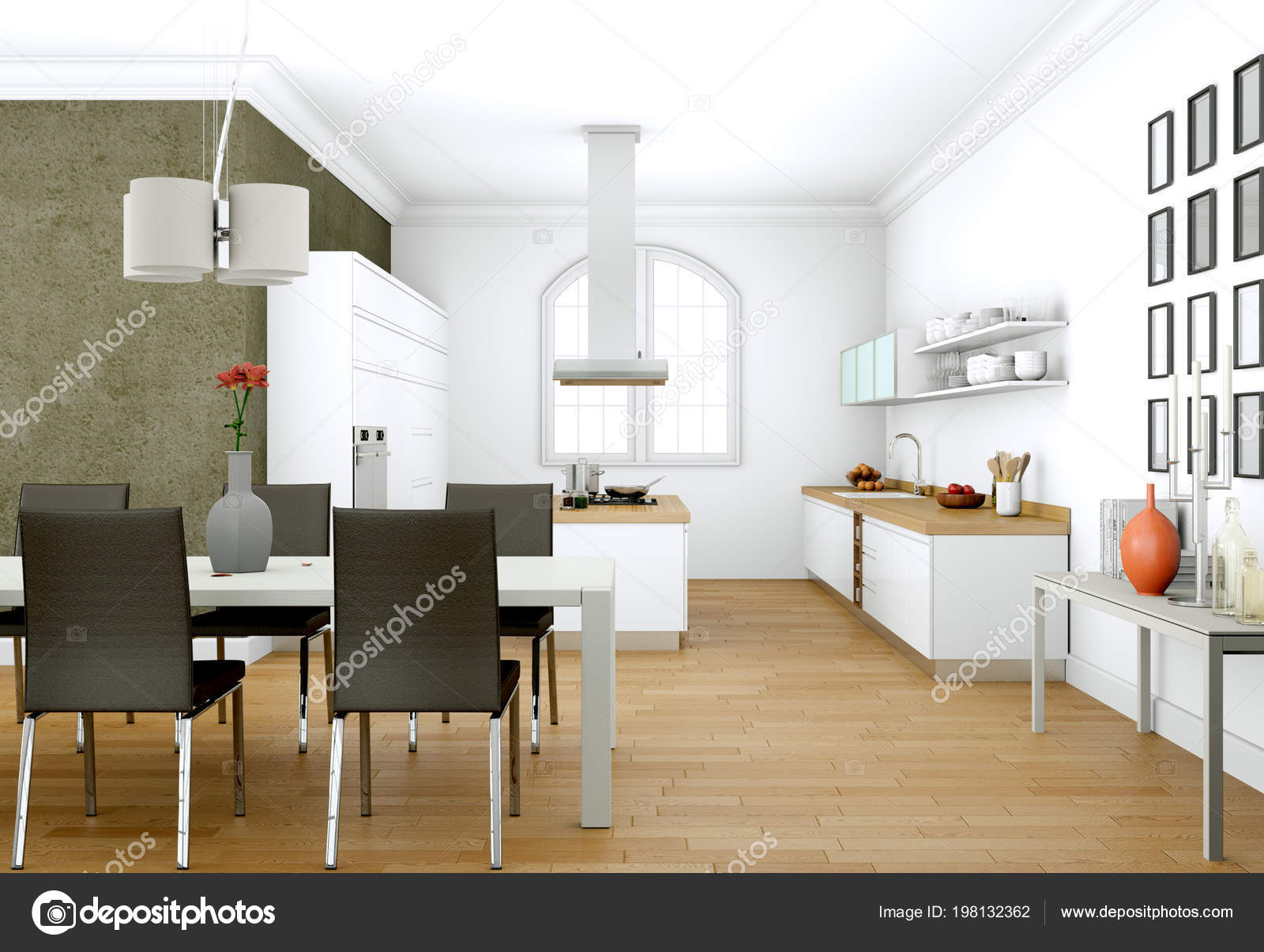 Superbe Salle à Manger Design Du0027intérieur En Appartement Moderne Illustration 3d U2014  Image De Virtua73