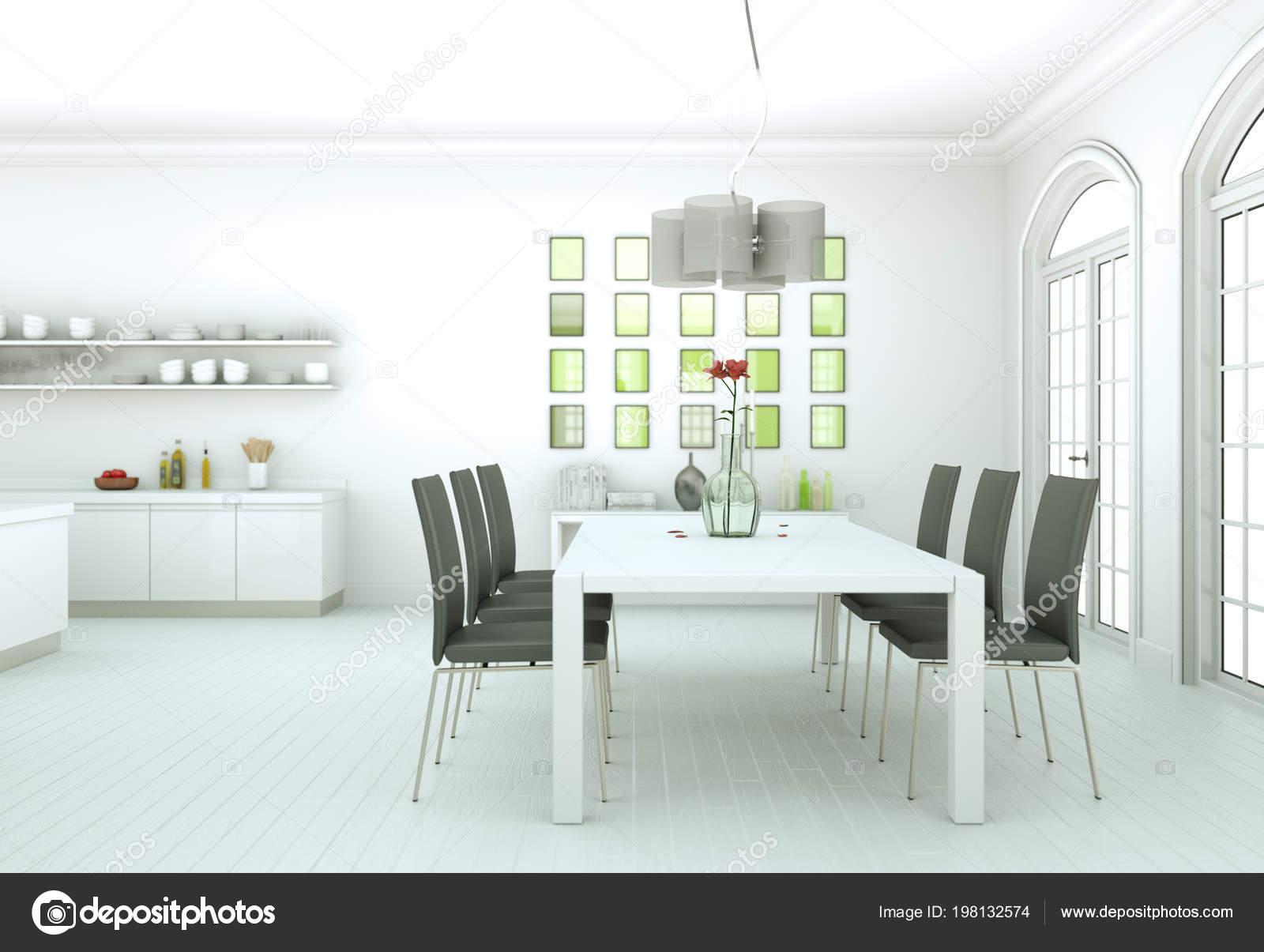 Salle à Manger Design Du0027intérieur En Appartement Moderne Illustration 3d U2014  Image De Virtua73