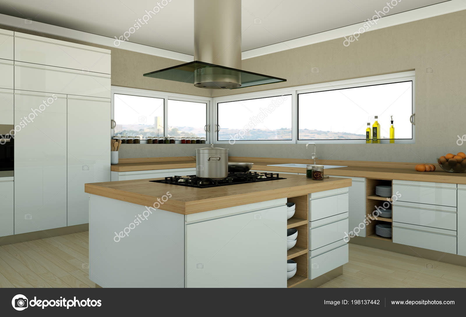 Cuisine Moderne Design white modern kitchen in a house with a beautiful design