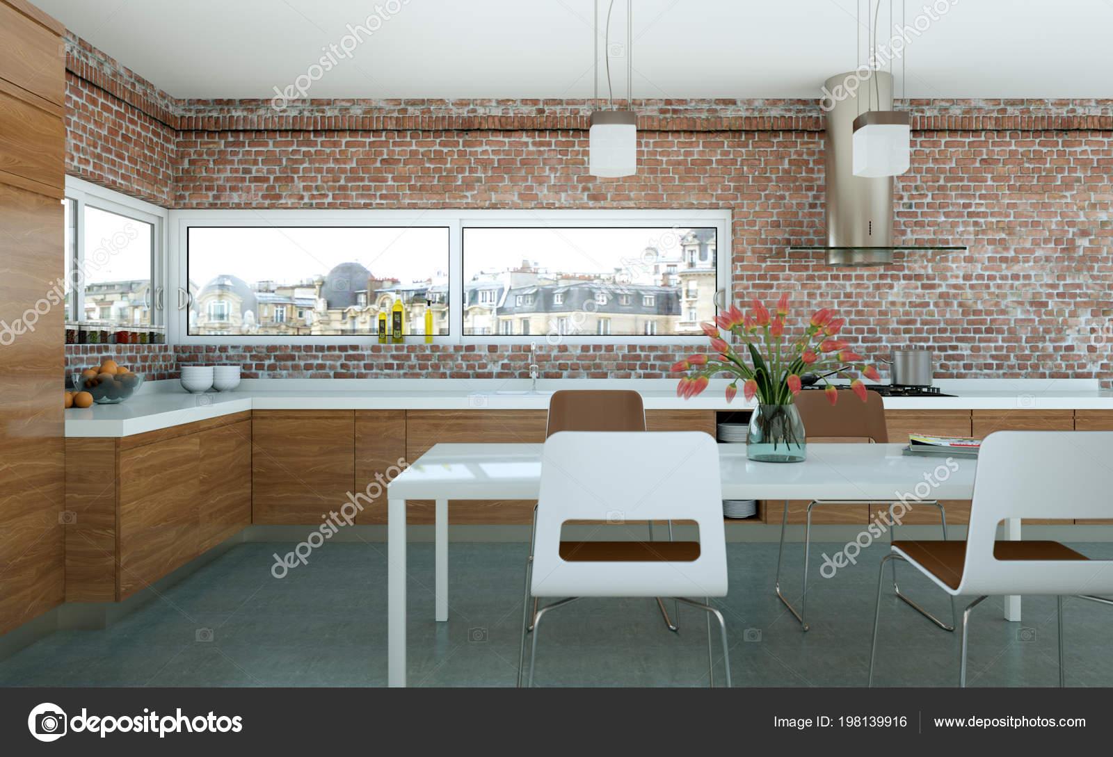 Cucina moderna in legno in un loft con muro in pietra — Foto Stock ...