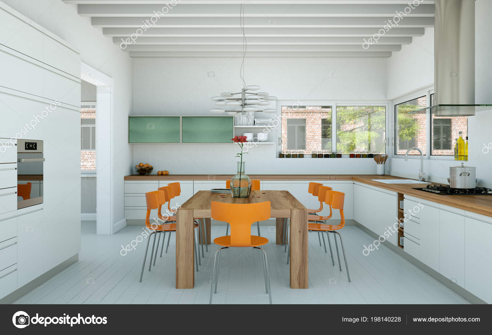 Weisse Moderne Kuche In Einem Haus Mit Orange Stuhle Und Tisch Aus