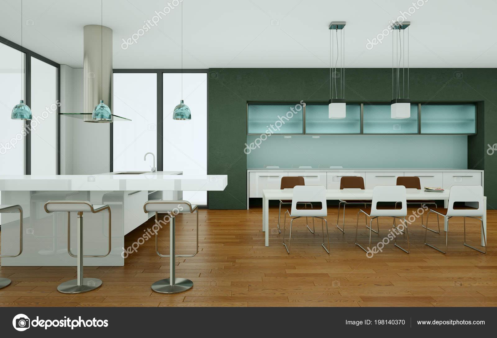Grijze Moderne Keuken : Moderne keuken in een loft met grijze wanden u2014 stockfoto © virtua73