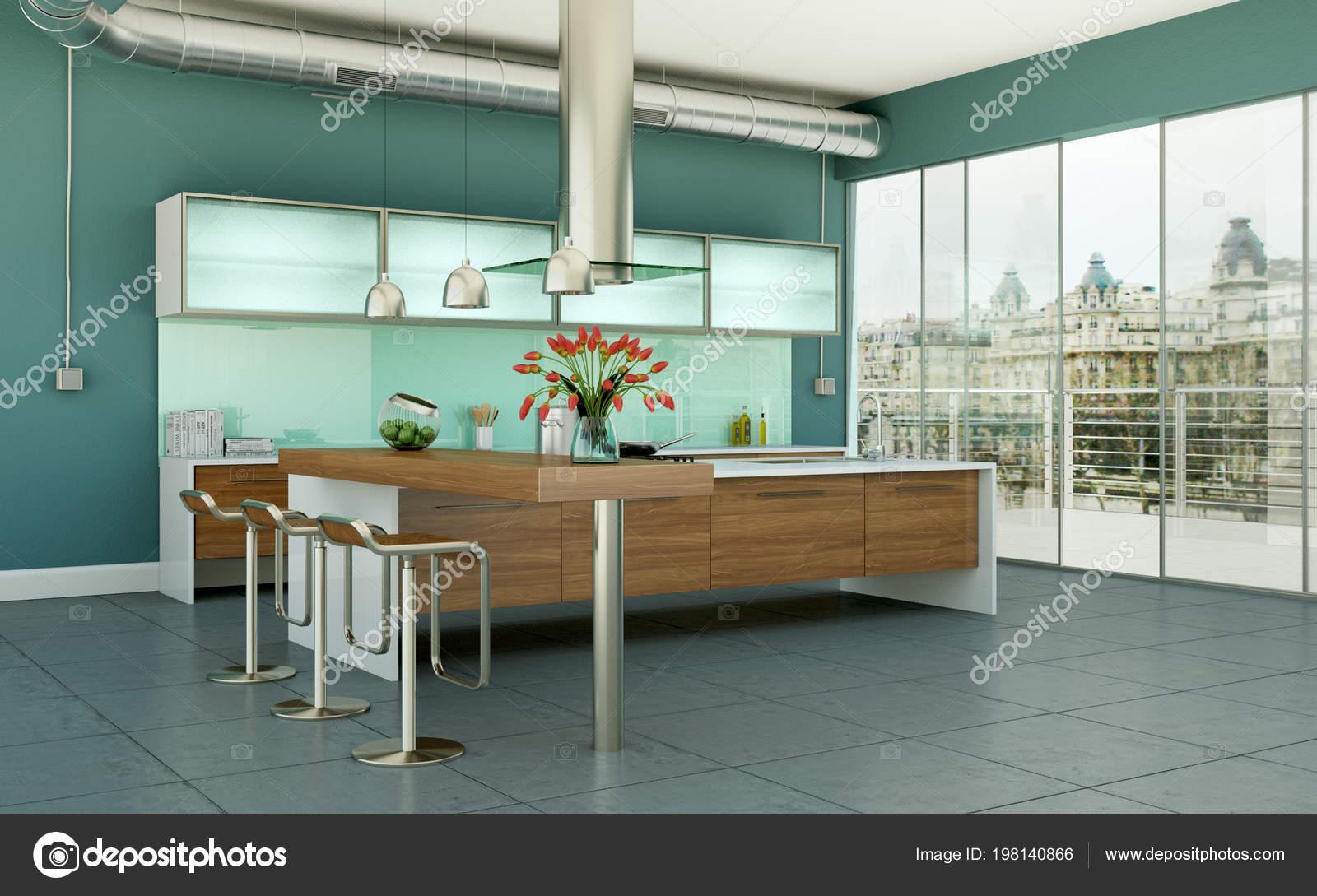 Moderne Kuche In Einem Loft Mit Grauen Mauern Stockfoto C Virtua73