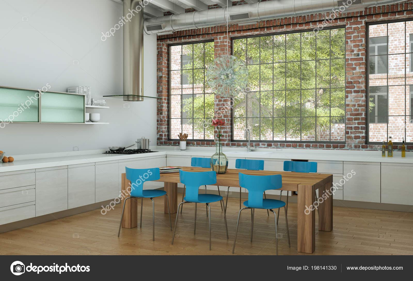Sedie Blu Cucina : Cucina moderna bianca in una casa con tavolo in legno e sedie blu