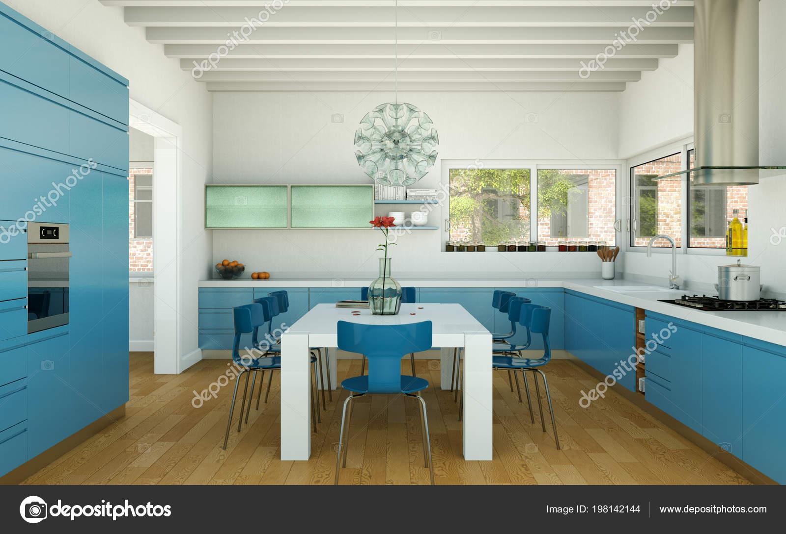 Cuisine moderne bleue dans une maison avec un beau design ...
