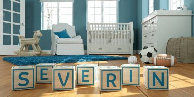 The name severin written with wooden toy cubes in childrens room
