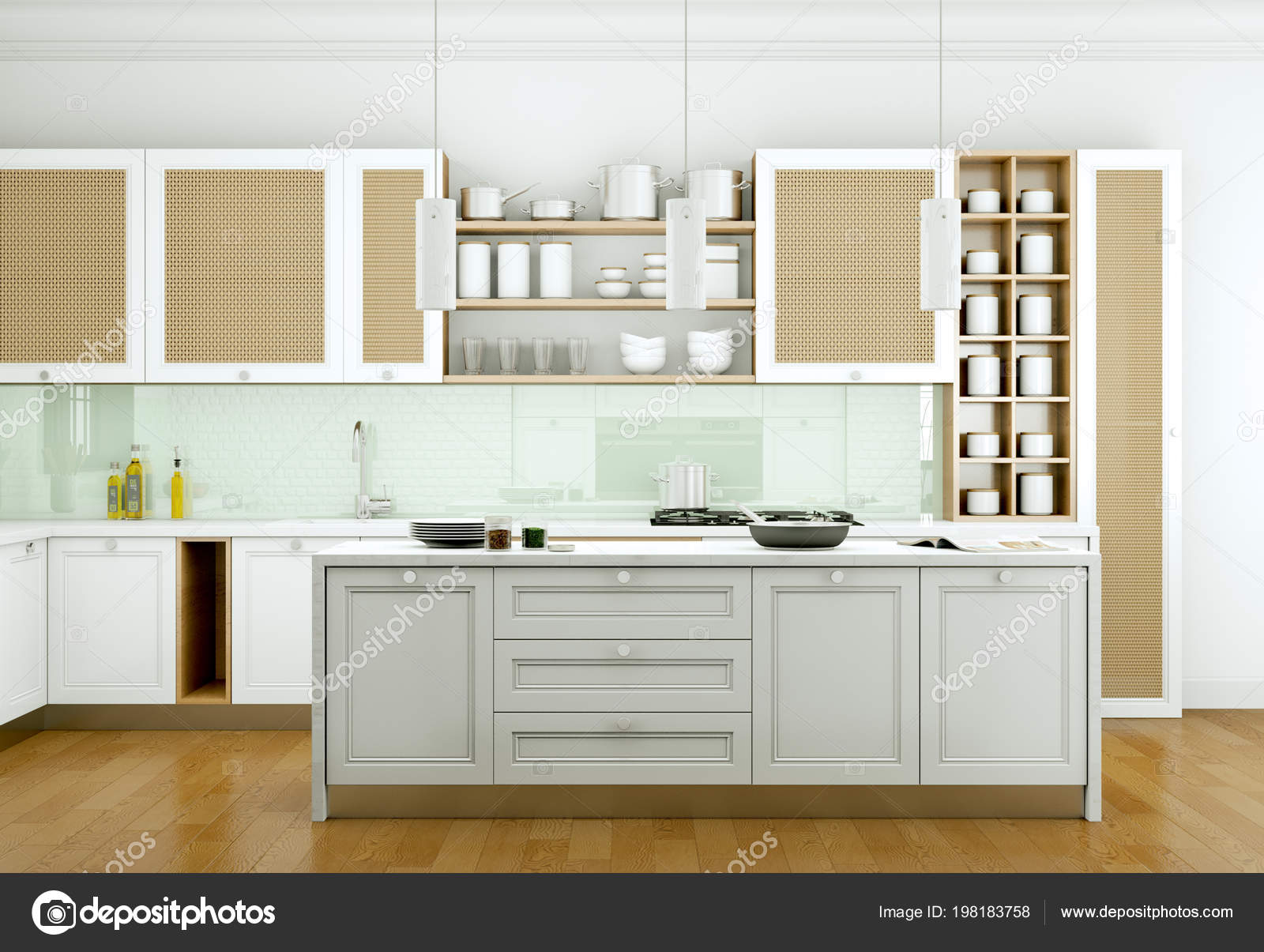 Cucina moderna bianca in una casa con un bel design — Foto ...