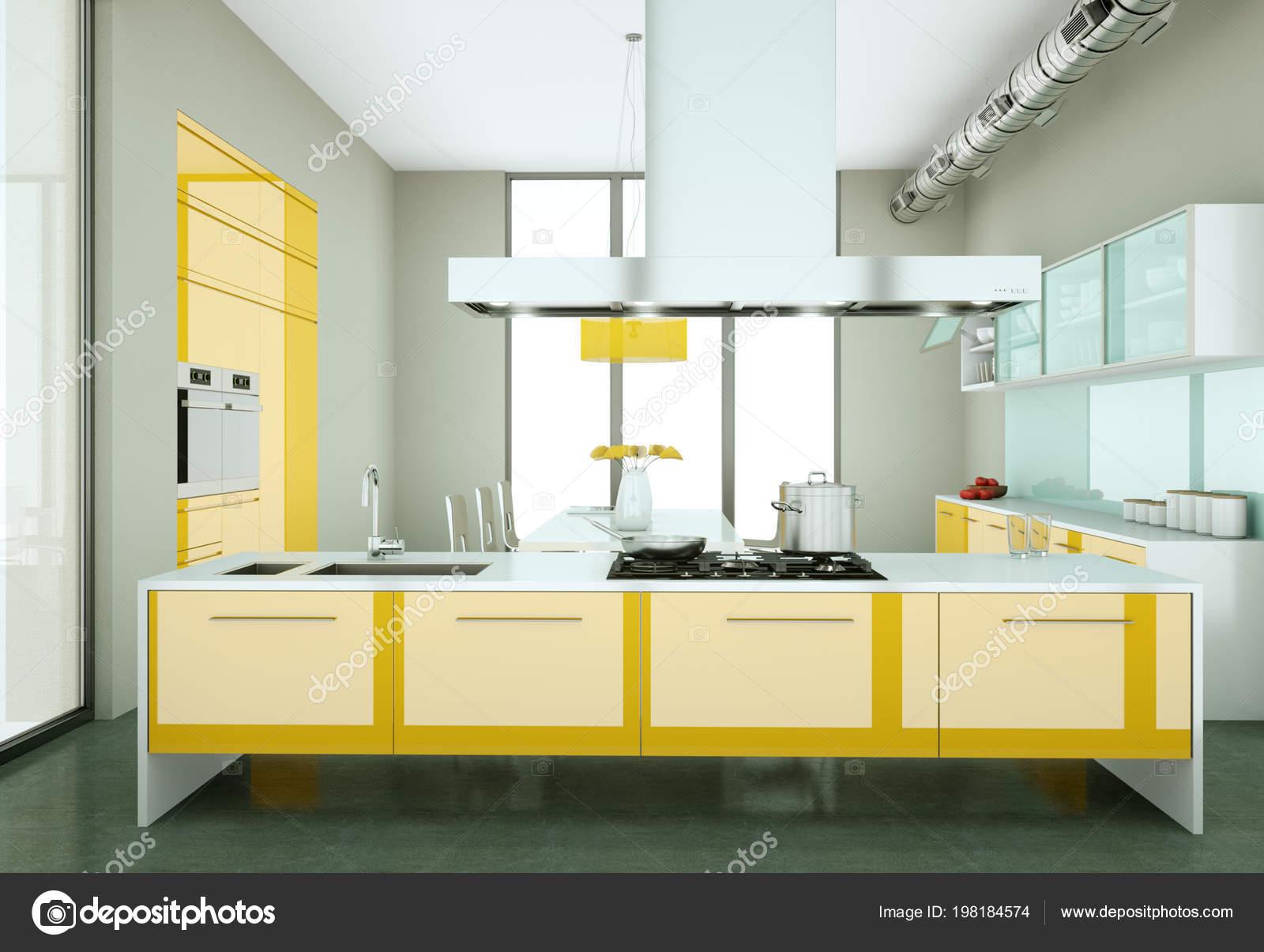 Cuisine Moderne Jaune cuisine moderne jaune dans un loft avec un beau design