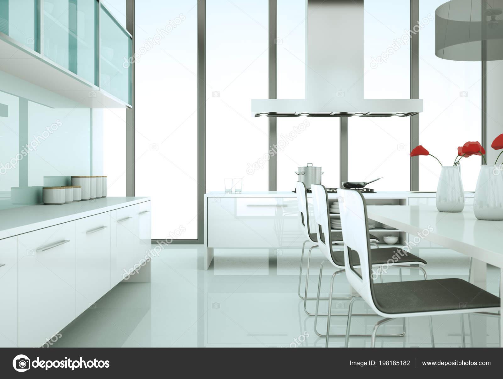 Cuisine moderne blanc dans une maison avec un beau design ...