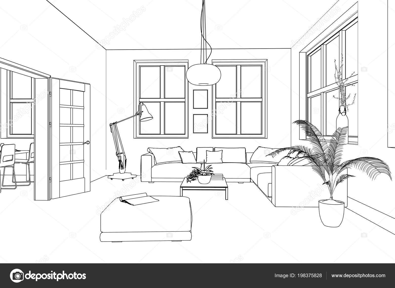 Dibujo personalizado de dise o de interiores living for Imagenes de diseno de interiores