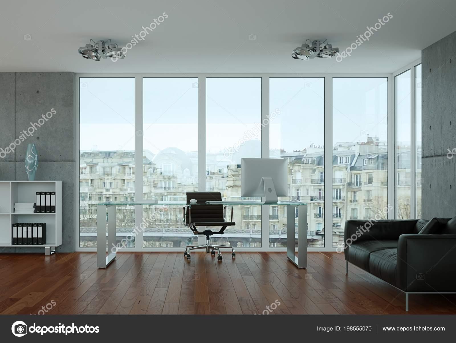 Moderne büro innenarchitektur mit betonmauer u stockfoto