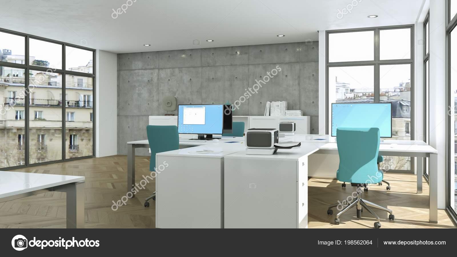 Design d intérieur de bureau moderne à la maison blanche rendu d