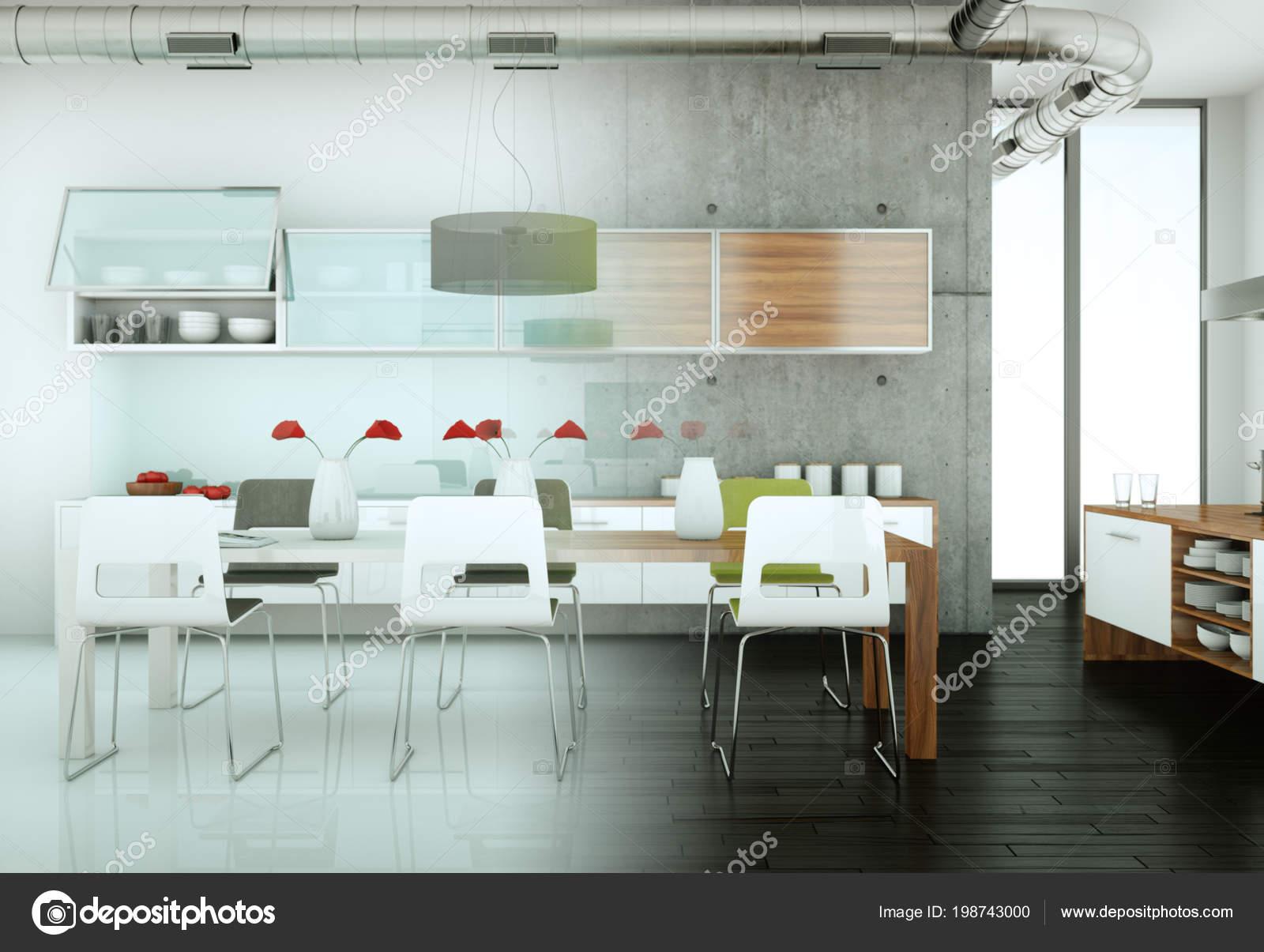 Cuisine moderne blanc dans une maison avec mur de béton ...