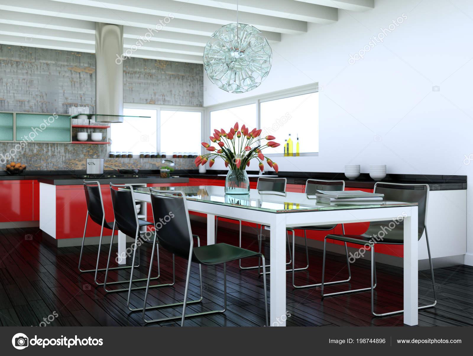 Cucina rossa moderna in una casa con un bel design — Foto ...