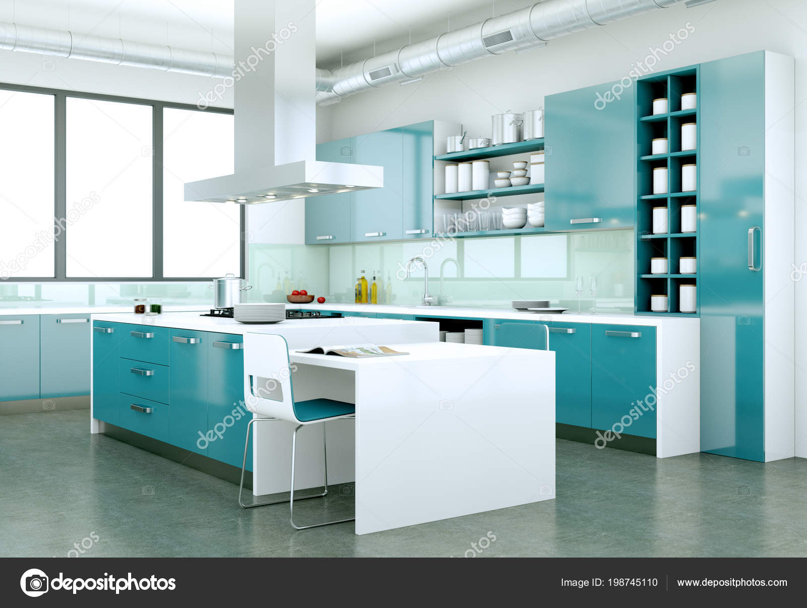 Cuisine Moderne Design blue modern kitchen in a house with a beautiful design