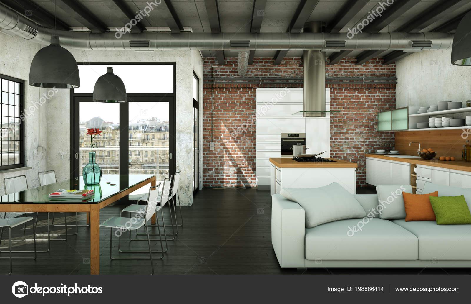 Moderne minimalistische woonkamer interieur in loft stijl met sofa