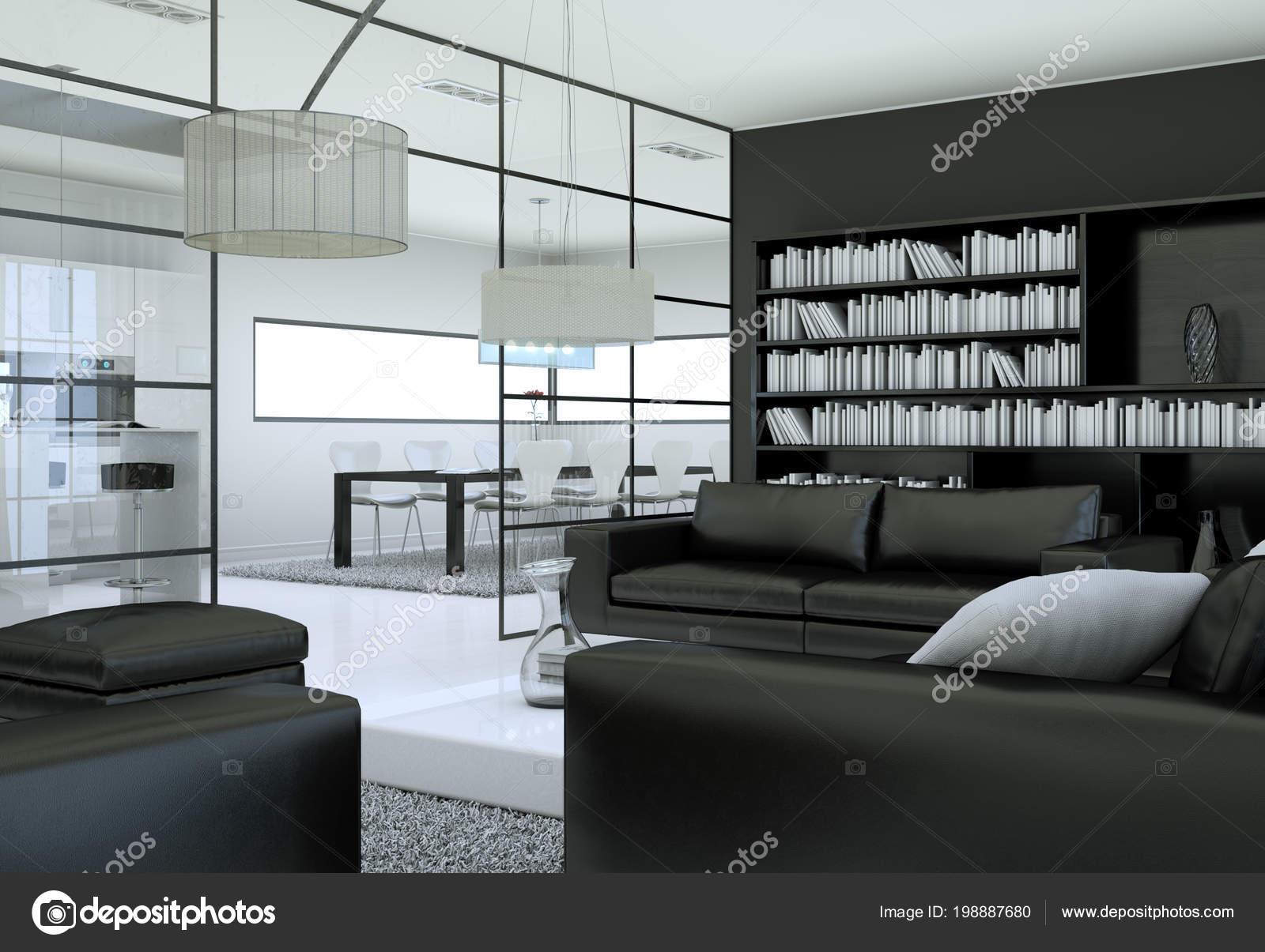 Modernen Minimalistischen Wohnzimmer Interieur Im Loft Design Stil Mit  Sofas 3D Rendering U2014 Foto Von Virtua73
