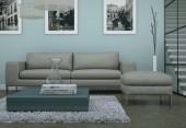 Salone minimalista moderno interni in stile design loft con divani