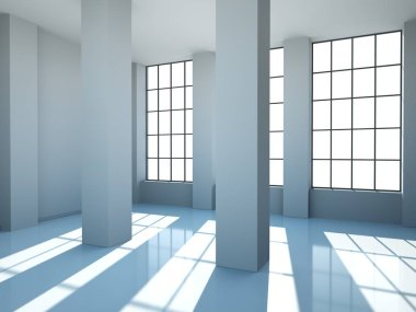 Empty room with white walls, windows and concrete